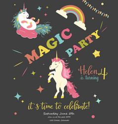 Birthday party card with unicorns vector