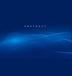 Blue technology wavy lines abstract digital vector
