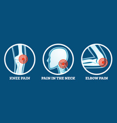 Body pain icons set pain in knee neck and elbow vector