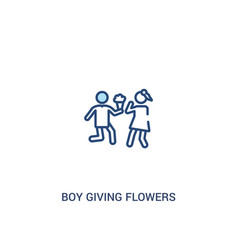 Boy giving flowers to his girlfriend concept 2 vector