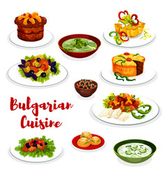 bulgarian cuisine icon of vegetable and meat dish vector image