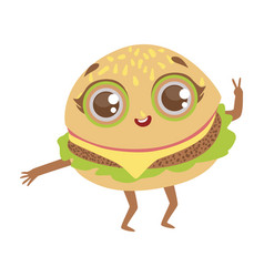 burger sandwich cute anime humanized cartoon food vector image