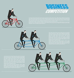 business competition managers on bike vector image