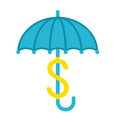 Business insurance flat icon umbrella dollar sign vector