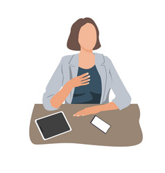 Businesswoman sitting at desk in office and vector