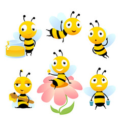 cartoon bees funny characters vector image