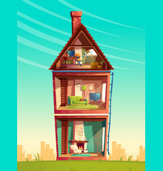 Cartoon multistorey house interior in vector