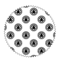circle with pattern abstract shapes backgroun vector image