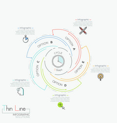 Circular infographic design layout with 5 spiral vector
