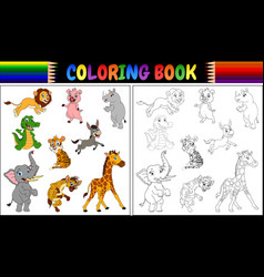 Coloring book with wild animals collection vector