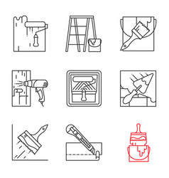 construction tools linear icons set vector image