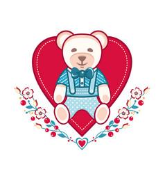 Cute bear greeting card vector