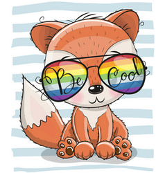 Cute fox with sun glasses vector