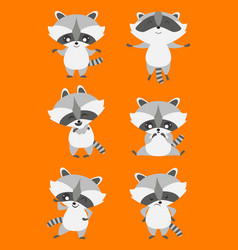 Cute racoon editable set vector