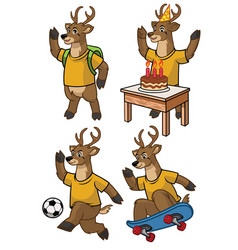 Deer cartoon set vector