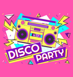 disco party banner retro music poster 90s radio vector image
