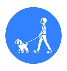 Dog walk icon in black style for web vector