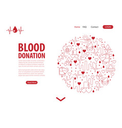 Donation blood landing page vector