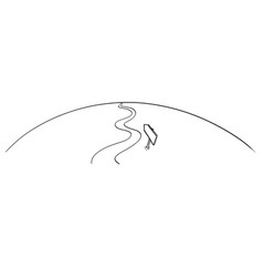 Drawing of conceptual winding way forward with vector