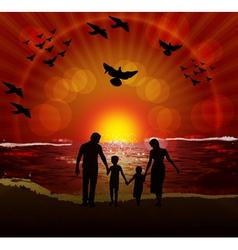 Family on beach vector