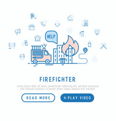 Firefighter concept template for web page vector