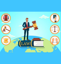 flat lawyer relies on law vector image