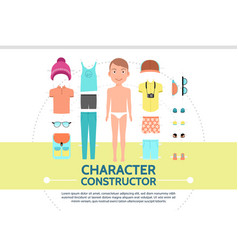 Flat male character creation set vector