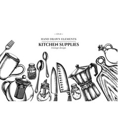 floral design with black and white chef s knifes vector image