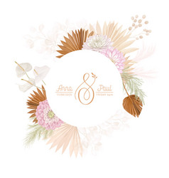 floral wreath with watercolor dry dalia flowers vector image
