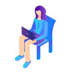 girl sit with laptop on chair icon isometric vector image