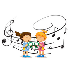 girls listening to music vector image