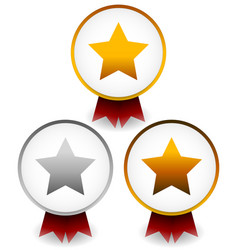 golden silver bronze star badges with ribbons vector image