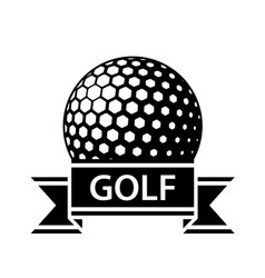 Golf ball black ribbon simple symbol vector
