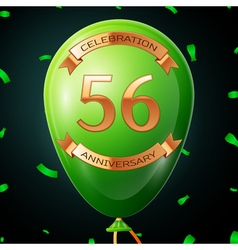 Green balloon with golden inscription fifty six vector