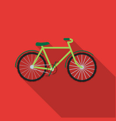 Green bicycle icon in outline style isolated on vector