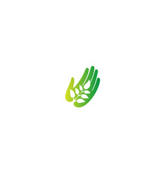 hand care ecology plant leaf logo vector image