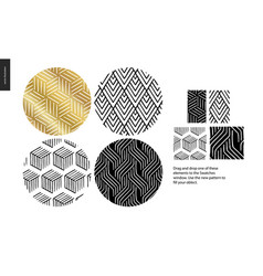 Hand drawn patterns - rounded vector