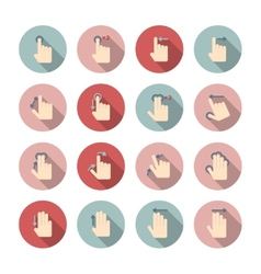 Hand touch gestures icons set vector image