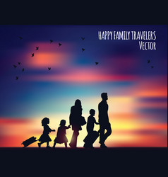 happy family travelers and landscape vector image