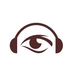 headphone headset eye concept logo icon vector image
