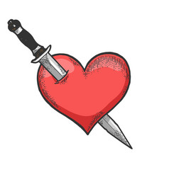 heart symbol pierced with knife sketch engraving vector image