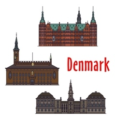 Historic buildings and architecture of denmark vector