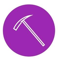 Ice pickaxe line icon vector