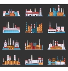 Industrial plant and factory with chimney set of vector image