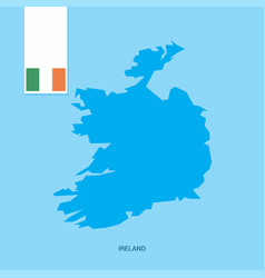 ireland country map with flag over blue background vector image