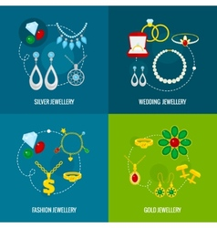 Jewelry icon flat set vector image