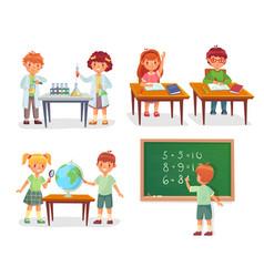 kids on school lesson primary schools pupils vector image