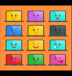 laptop computer funny emoticons isolated set vector image