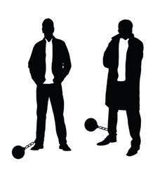 man silhouette set with prision ball vector image