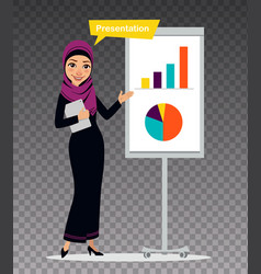 Manager with tablet is standing near flipchart vector